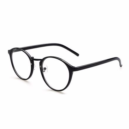 Retro runda/ovala glasögon svart m. klart glas utan styrka