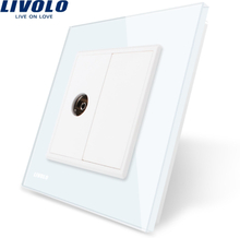 Livolo Wholesale/Retail, 4colors Crystal Glass Panel, 1 Gang TV Socket / Outlet VL-C791V-11/12/13/15, Without Plug adapter