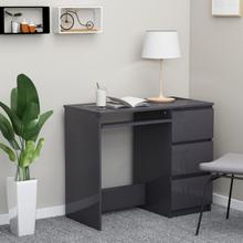 vidaXL Skrivebord høyglans grå 90x45x76 cm sponplate