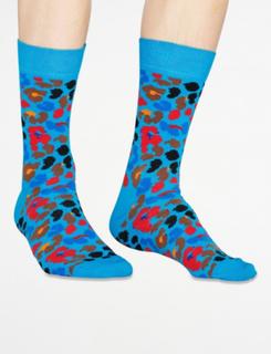 Happy Socks, Multi Leopard Sock, Blå, Strømper/Sokker till Unisex, 36-40