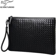 Badenroo Brands Men bag Leather Weave Knitting Clutch Bag Shoulder bag Wallet Handy Bag Handbags Day Clutches Male Large Purses