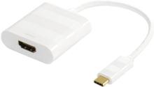 Deltaco USB 3.1 till HDMI adapter, Typ C ha - HDMI ho, 4K, UHD, vit