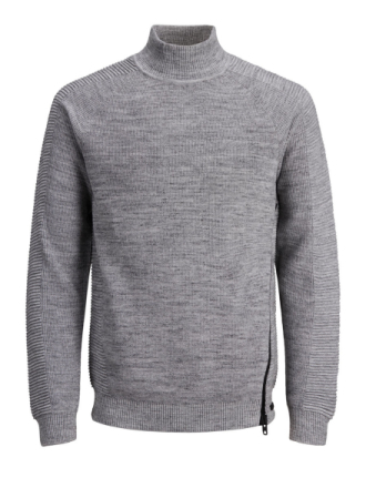 JACK & JONES Zipper Knitted Pullover Men Grey