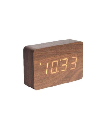 Square Dark Wood Alarm Clock