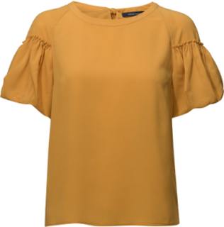 Crepe Light Puff Sleeve Top Bluse Kortermet Gul FRENCH CONNECTION