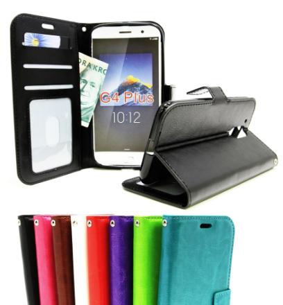 Crazy Horse Wallet Lenovo Motorola Moto G4 / G4 Plus (Svart)