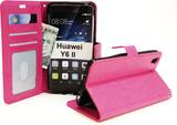 Crazy Horse Wallet Huawei Y6 II (CAM-L21) (Hotpink