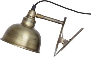 Vägglampa m. Klämma Antik Mässing