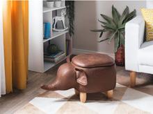 Beliani Sittpuff med förvaring konstläder mörkbrun ELEPHANT