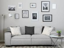 Beliani 3-istuttava sohva kankainen vaaleanharmaa VISKAN