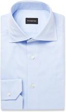 Light-blue Cutaway-collar Puppytooth Cotton Shirt - Blue