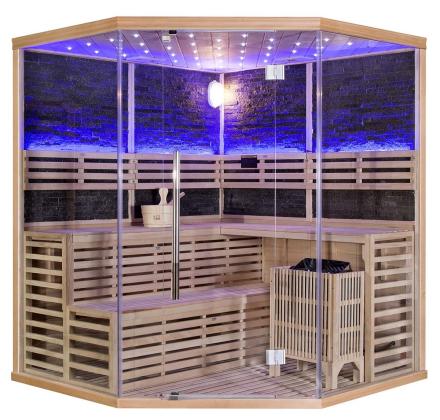 Rocky sauna hörn-bastu för 4 till 5 personer