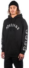 Spitfire Old E Hoodie black w/ white prints L