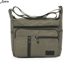 HOT Men Canvas Crossbody Bags Single Strap Male Shoulder Bags Casual Travel Handbags Solid Zipper School Bags for Teenagers