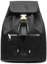 Nylon-gabardine backpack with gold-effect hardware