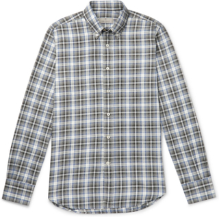 Slim-fit Checked Cotton-flannel Shirt - Navy