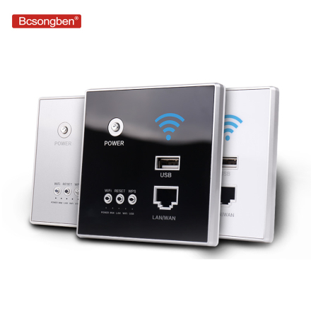 Bcsongben Smart Wireless WIFI repeater extender Wall Embedded 2.4Ghz Router Panel 300M 220V power AP Relay usb Charger socket