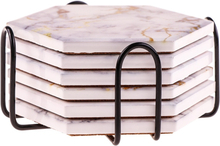 6Pcs Coasters for Drinks Absorbent with Holder Marble Design Ceramic Coaster Set Super Absorbent Hot&Cold Drink Coasters
