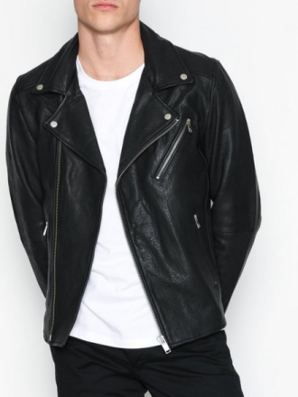 Selected Homme Shnscott Leather Biker Jacket Camp Takit Musta