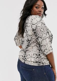 Junarose bluse med slange print-Multifarvet