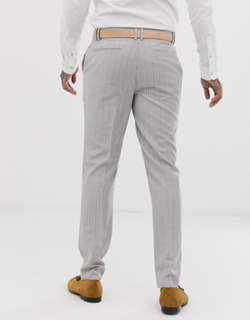 Topman slim smart trousers in grey pin stripe-Multi