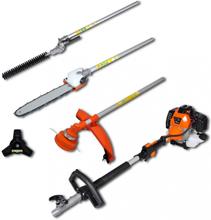 4-i-1 multiverktøy hekk og gresstrimmer, motorsag, ryddesag