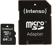 Mikro-SD-hukommelseskort med adapter INTENSO 34234 UHS-I XC Premium Sort 128 GB