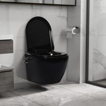 Veggmontert toalett med bidéfunksjon kantløst keramikk sort