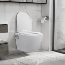 Veggmontert toalett med bidéfunksjon kantløst keramikk hvit