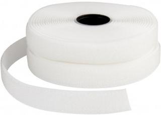 Borrelåsbånd, B: 20 mm, 5 m, hvit
