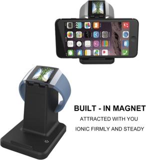 Fitbit Ionic og Universal Smarttelefoner og Tablets Dobbelt Lade stativ laget av plastikk - Svart