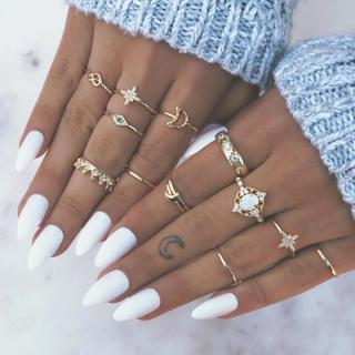 13pcs/set Opal Rings Set Crown Finger Rings Knuckle Midi Moon