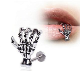 Women Skull Hand Lip Piercing Jewelry Punk Piercing Skeleton Lip Silver 12.8*11mm