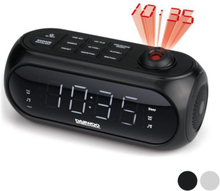 Clockradio med LCD-projector Daewoo DCP-490 180º FM Hvid