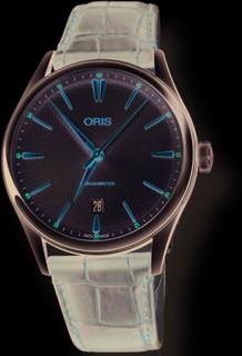 ORIS ARTELIER DATE automatik chromometer armbåndsur i stål med sølv skive, forgyldt indeks og brun croco læderrem