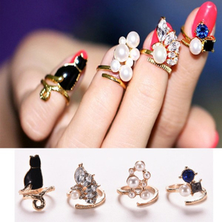 Kvinnor Mode Ringar Cat Pearl Zircon Nail Rings Set 4pcs / Set Ch