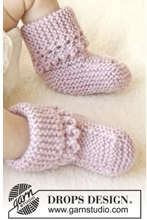 Lullaby Booties by DROPS Design - Baby Tofflor Stick-mönster strl. 0/1