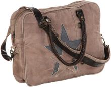 vidaXL Handväska brun 40x54 cm kanvas och äkta läder