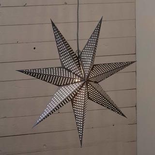 Papirstjerne Huss 60 cm grå med punkter
