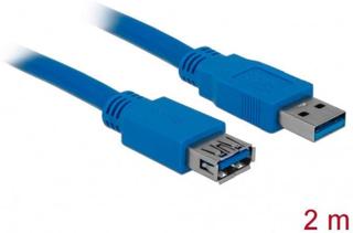 Delock USB 3.0 Förlängningskabel [1x USB 3.2 Gen 1 A hane (USB 3.0) - 1x USB 3.2 Gen 1 A hona (USB 3.0)] 2.00 m Blå guldpläterad kontakt