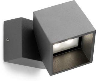 Antracitfärgad LED-utomhusvägglampa Cubus