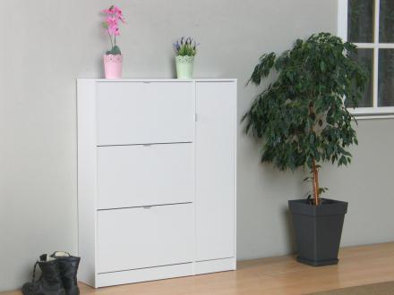 Light skoskap med 3 skuffer og 1 dør, bredde 102 cm, høyde 125,3 cm, hvit høyglans.