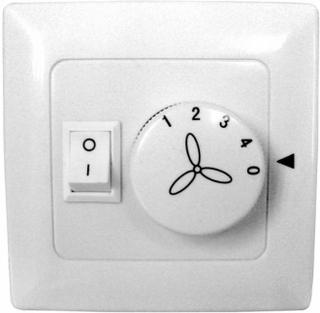 Vægkontakt til ventilatorer, 4 trin / belysning