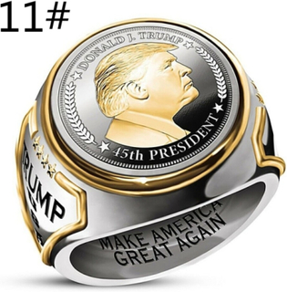 Usa President Trump Rings Band Rings Two-tone 11