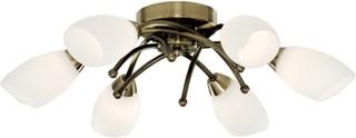 Mässing-taklampa OPERA med 6 ljuskällor