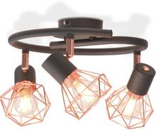 vidaXL Taklampa med 3 spotlights E14 svart och koppar