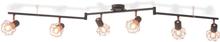 vidaXL Taklampa med 6 spotlights E14 svart och koppar