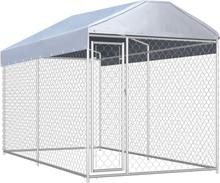 vidaXL Hundgård för utomhusbruk med tak 382x192x235 cm
