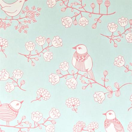 Majvillan, Tapetti, Sugar tree, turkoosi/vaaleanpunainen/valkoinen