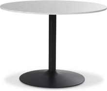 Plaza runt matbord - Vit marmor/svart fot